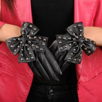 Wholesale bow leather gloves resale online - Fashion Elegant Women Gloves Lady Rivet Butterfly Bow Soft PU Leather Gloves For Women High Quality Tactical Guantes