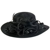 Wholesale organza sun hats resale online - Fashion Women Organza Floral Kentucky Derby Church Dress Wide Brim Straw Sun Hat Colors I5WK