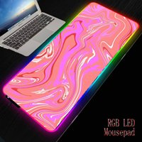 edge lighting groihandel-Mairuige Red Aquarell Marmor Gaming Große Mausunterlage RGB LED-Licht Locking Rand Tastatur Mauspad Gaming Schreibtisch Mousepad verdicken