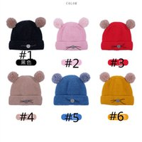 Wholesale fleece warm hats kids resale online - Fleece Lined Kids Winter Hats with Two Pom Balls Bear Cute Beanies Tuque Boys Girls Ribbed Knitting Warm Outdoor Sports Caps NEW LY9161