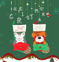 calcetines de chrismas al por mayor-Chrismas Socks Bolsas de regalo Sobre PET Sobre Stock Por Dog Cat Patten Cartoon Home Market Decoración Festival Ornamento Chrismas Adornos 08