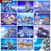 Wholesale HOMFUN DIY Diamond Painting quot Animal tiger landscape quot Full Drill Square Round Diamond Embroidery D Cross Stitch Decoration Home