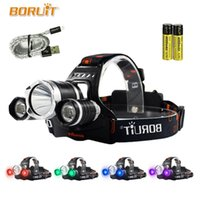 BORUIT UV 5000Lm T6 LED Headlamp 3 Modes High Power Headlight Purple Light For Camping Fishing 18650 Battery Head Torch 4 Color