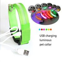 Wholesale led dog collar small resale online - LED Pet Collar USB Rechargeable LED Dog Collar Night Safety Flashing Puppy Nylon Collar with USB Cable Charging EWC2361