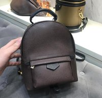 Wholesale hard backpack resale online - Hot Fashion Palm Springs Backpack Mini Real Leather Children Backpack Women Printing Leather Backpacks Designer Casual Small Back pack