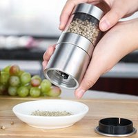 Wholesale gzzt resale online - GZZT Stainless Steel Salt And Pepper Mill Munual Spice Mills Grinder Jar Adjustable Thickness Ceramic Container Kitchen Tools