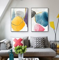 Wholesale abstract art paintings decor red resale online - Nordic Canvas Painting Golden Poster and Print for Living Room Bedroom Red Blue Abstract Picture Wall Art Decoration Home Decor