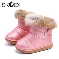 Wholesale red snow boots for kids resale online - SKOEX Baby Girls Snow Boots Winter Warm Childrens Soft Booties PU Waterproof Fur Rainboots for Toddler Kids Shoe EU