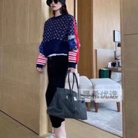 Wholesale puller for sale - Group buy The new design autumn fashion sweater letter jacquard vintage knit round neck puller zipper embellished top
