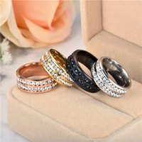 Wholesale bride ring finger for sale - Group buy 2 Rows Crystal Rings Stainless Steel Finger Rings Band Ring Wedding Ring for Women Men Bride Fashion Wedding hip hop jewelry BY DHL
