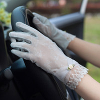 Wholesale ladies fashion lace gloves resale online - Fashion Lady Summer Touch Screen Sunscreen Silk Gloves Women Thin Section Lace Flower Breathable Gloves MAJJ02