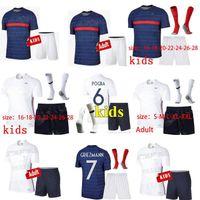 Wholesale euro soccer resale online - 2020 MAILLOTS de football France EURO soccer jersey MBAPPE GRIEZMANN equipe de france KANTE POGBA enfant kids KIT Uniforms socks