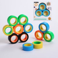 Wholesale magnet blocks for sale - Group buy Magnetic Infinite Cube Decompression Toy Fidget Spinners Magnet Block Ring Finger Hand Table Toy Rotating Finger Gyro Character Focus Toy