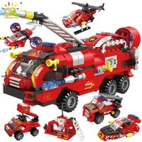 Wholesale fire bricks for sale - Group buy HUIQIBAO in1 Fire Fighting Trucks Car Helicopter Boat Building Blocks City Firefighter Firemen Figures Bricks Toys Child