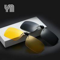 Wholesale flip glasses for sale - Group buy High Quality Polarized Sunglasses Clip on Dark Vision Lens Glasses Flip Night Driving Glass Black Easy Anti UVA Lens