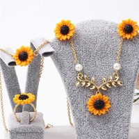 Wholesale yellow rose jewelry sets resale online - Fashion Flower Enamel Jewelry Set Rose Gold Color Yellow Painting Bridal Jewelry Sets For Women Wedding