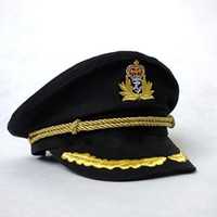 Wholesale black captain cap resale online - Men Hats Sailor Captain Hat Black White Uniforms Costume Party Cosplay Stage Perform Flat Navy Cap For Adult Men Women