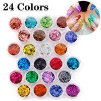 24jars Set Holographic Glitter Nail Flakes Chunky Glitter Holographic Powder Face Body Eye Nail Art Manicure Decoration