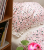 Wholesale pink ruffle full bedding set resale online - SWEET pink flower bedding set teen kid fairyfair ruffled cotton twin full queen home textile bed sheet pillow case duvet cover