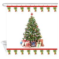 Wholesale tree bathroom decor resale online - Merry Christmas Shower Curtain Christmas Tree Shower Curtain Waterproof Bathroom Decor Polyester Fabric Curtain Sets with Hooks