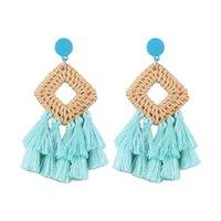 Wholesale huge stud earrings for sale - Group buy BK Rope Fabric Knit Tassels Earrings Women Boho Huge Fashion Jewelry Dangle Stud Earring Ear Drop Set Luxury Handmade Jewel01