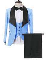 Wholesale best baby pants for sale - Group buy Custom Made Men Suits Baby Blue Pattern Groom Tuxedos Shawl Satin Lapel Groomsmen Wedding Best Man Pieces Jacket Pants Vest Tie L428