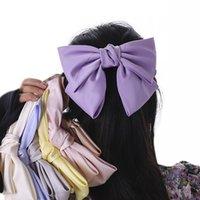 Wholesale purple butterfly hair accessories resale online - XClL0 Purple satin Zhou Yangqing butterfly butterfly same style big bow hairpin women s back head spoon hair accessories Internet celebrity