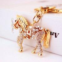 Wholesale rhinestone horse keyring resale online - Rhinestone Crystal Lovely Horse Keychain Keyring For Car Handbag Chram Key Holder