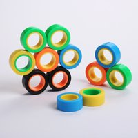 Wholesale magnet blocks resale online - Magnetic Infinite Cube Decompression Toy Fidget Spinners Magnet Block Ring Finger Hand Table Toy Rotating Finger Gyro Character Focus Toy