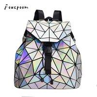 Wholesale hologram laser backpack resale online - Women Laser Colorful Backpack School Hologram Geometric Fold Student School Bags For Teenage Girls holographic sac a dos NewX0923