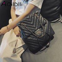 Wholesale pu backpack purses preppy resale online - Casual Women Backpack Luxury Soft PU Leather Backpacks Female Lingge Chain Shoulder Bag for Teenage Girls Travel Large Purses