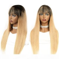 Wholesale long blonde human hair wig bangs for sale - Group buy Colored B Glueless Human Hair Wigs With Bangs Ombre Blonde Straight Raw Indian Remy Full Machine Made Non Lace Wig For Black Women