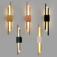 kitchen wall lamps 2021 - Post modern Luxury Wall Lamp Hotel Living Room TV BackGround Bed Room Stairs Lights Simple LED Gold Glass LED Lighting Fixtures