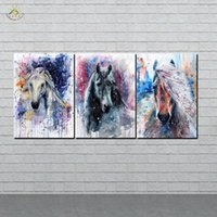Wholesale horse art paintings piece for sale - Group buy Abstract Art Horses Wall Art HD Prints Canvas Painting Modular Picture And Poster Canvas Painting Decoration Home PIECES
