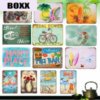 Wholesale best vintage home decor for sale - Group buy 2020 English Flower Garden Vintage Beach Home Decor TIKI BAR Summer Best Offers Metal Plate Happy Beach Bar Kitchen Painting Wall Stickers