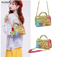 Wholesale rainbow color handbags for sale - Group buy Rainbow Color Luxury Handbag Women Bags Designer Graffiti Crossbody Messenger Bag Ladies Purses and Handbags Famous Trend Bags