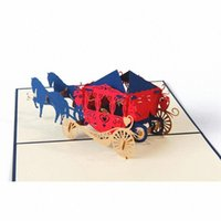 окно приветствия оптовых-Carriage 3D Up Holiday Greeting Card Cat Box Animal Christmas Thanksgiving Birthday Gift UulL#