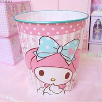 ko groihandel-New My Melody Little Twin Sterne Cinnamoroll Hund Home Bad Trash Can Cartoon Sundries Lagerung Eimer Kawaii Mülltonne aus Kunststoff