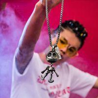 Wholesale aliens necklace resale online - Steampunk alien necklace pendant necklace gift accessories for men and women hip hop titanium steel stainless steel