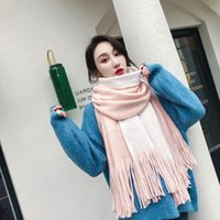Wholesale labeling resale online - Japanese Men And Women Couple Warm Scarf Bufanda Autumn Winter Knitted Wool Scarf Labeling Solid Color Cashmere Pañoletas Mujer