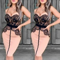Wholesale club packs resale online - Women Sexy Dress Ladys Sexy Club Skirts Womens Pack Hip Strap Dresses Lady Lace Stitching Dress Womens Designer Dresses