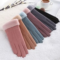 Wholesale brown leather cycling gloves for sale - Group buy Female Double Thick Plush Wrist Warm Cashmere Glove Cute Cycling Mittens Women Suede Leather Touch Screen Driving Glove Winter