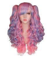 Wholesale black dark purple ombre hair for sale - Group buy Long Wavy Cosplay Wig Purple pink Ombre Black White Heat Resistant Synthetic Hair Wigs With two ponytails