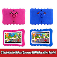 Wholesale kids educational tablet pc for sale - Group buy 7 inch Kids Tablet PC with holder Quad Core children laptop Android Allwinner Educational APP wifi IPS Screen protective cover