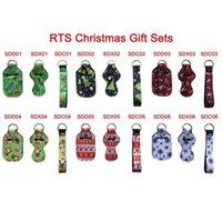 Wholesale news covers online – custom News set Christmas Gift Holder Set Neoprene Printing Chapstick Holder Sanitizer Holder Wristlet Keychains Keychain Pouch Cover EWE1826