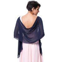 Wholesale evening shawls scarves resale online - Hot Sale EleWomen Long Shawls Wraps Bridal Chiffon Colorful Scarves For Wedding Evening Party Dress Wraps cm
