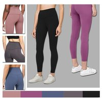 Wholesale yoga pants men resale online - Yoga Pants LU Solid Women yoga pants High Waist Sports Tights Workout sports Outfits Ladies Sports zz1