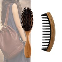 Wholesale vintage clean for sale - Group buy Vintage Boar Bristle Paddle Hair Brush Wide Tooth Horn Wood Comb Hair Set Makeup Fashion Styling Detangling Women Curly Hair Wig Clean