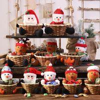 Wholesale christmas gift baskets resale online - Christmas Candy Storage Basket Christmas Table Decorations Xmas Santa Claus Snowman Storage Basket Christmas Gift Party Supplies XD23928