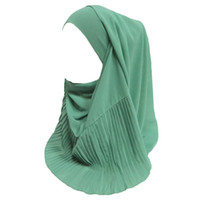 ingrosso sciarpe a testa liscia-Bubble Chiffon Muslim Hijab Head Scarf Shawl Wrap Patchwork Pleated Plain Colors